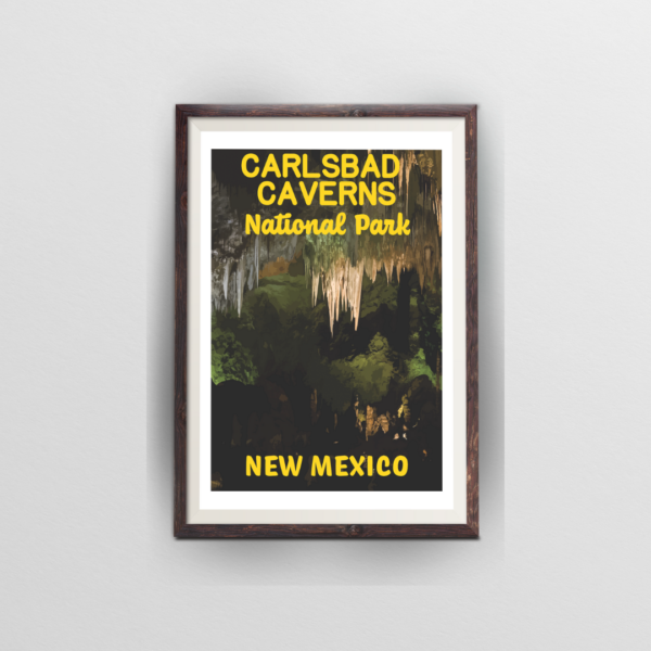 carlsbad caverns national park poster brown frame white background