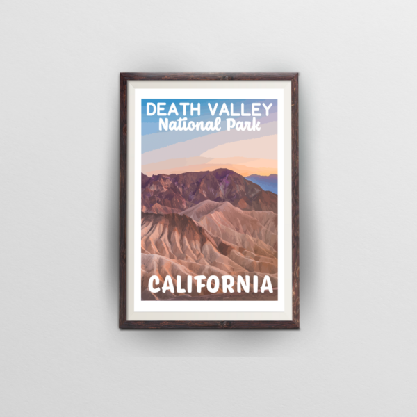 death valley national park poster brown frame white background