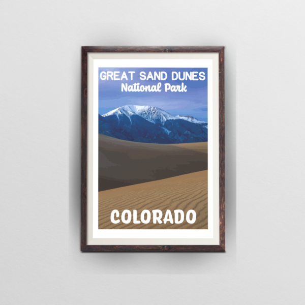 great sand dunes national park poster brown frame white background