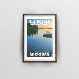 isle royale national park poster brown frame white background
