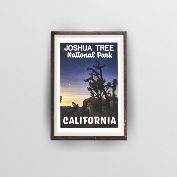 joshua tree national park brown frame white background