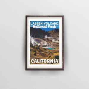 lassen volcanic national park poster brown frame with white background