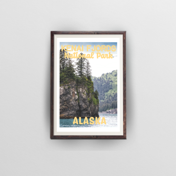 kenai fjords national park poster brown frame white background