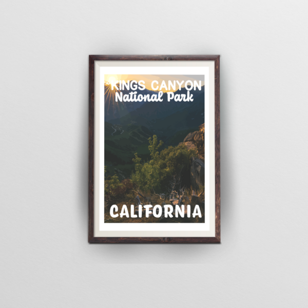 kings canyon national park poster in brown frame with white background
