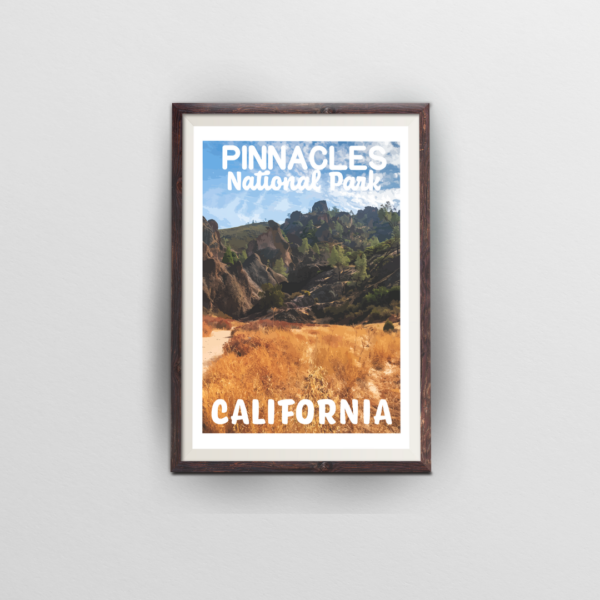 pinnacles national park poster brown frame white background