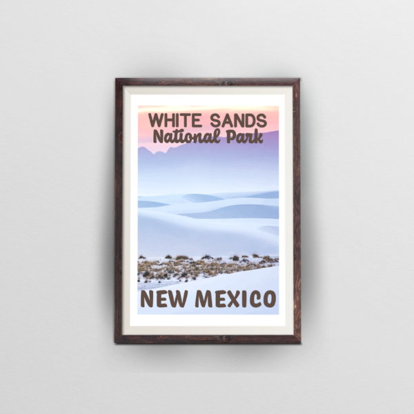 white sands national park poster brown frame white background